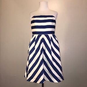Outback Red Blue and White Striped Strapless Dress